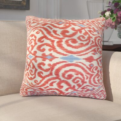 Arcelia Ikat Cotton Throw Pillow Color: Red