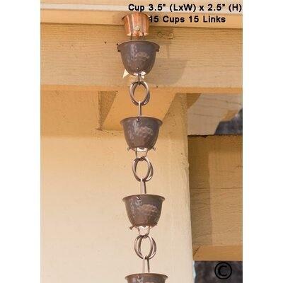 Aluminum Hammered Cup Rain Chain Color: Beaver Brown 50585