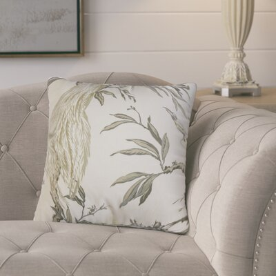 Margarida Floral Cotton Throw Pillow Color: Green/White