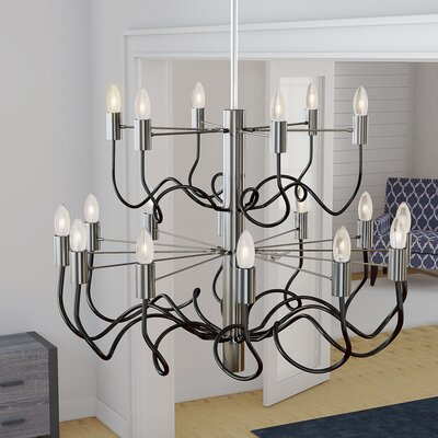 Aisha 18-Light Candle-Style Chandelier Finish: Satin Chrome/Matte Black
