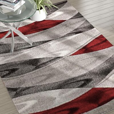 Grimes Gray/Red Area Rug Rug Size: 3'6'' x 5'