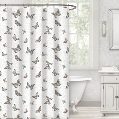 Decarlo Butterfly 100% Cotton Shower Curtain