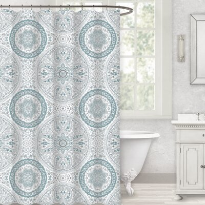 Herzberg Paisley Medallion 100% Cotton Shower Curtain Color: Spa Blue