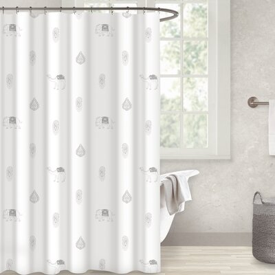 Crantor 100% Cotton Shower Curtain Color: Silver