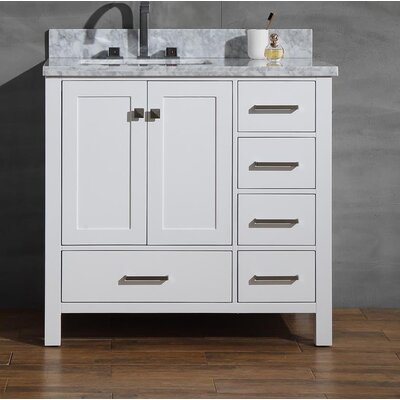 Joseline 37 Single Bathroom Vanity Set Base Finish: White