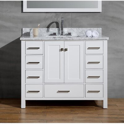 Joseline 43 Single Bathroom Vanity Set Base Finish: White