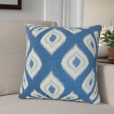 Arlandus Ikat Cotton Throw Pillow Color: Blue