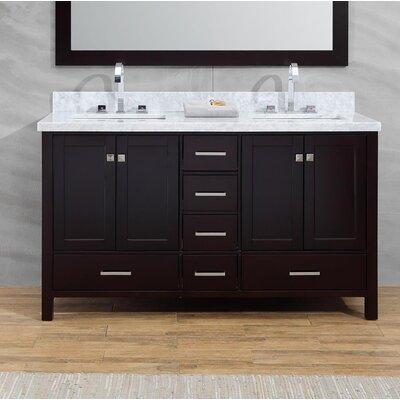 Joseline 61 Double Bathroom Vanity Set Base Finish: Espresso