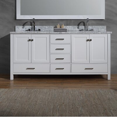 Joseline 73 Double Bathroom Vanity Set Base Finish: White