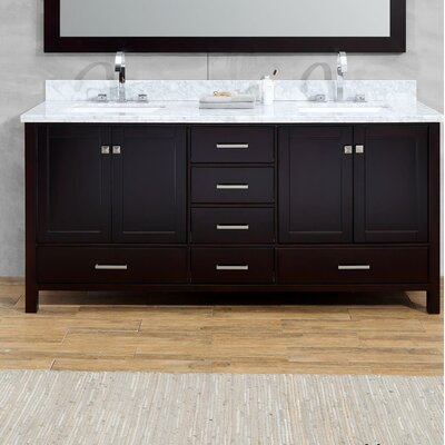 Joseline 73 Double Bathroom Vanity Set Base Finish: Espresso