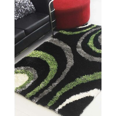 Henricks Hand-Tufted Black/Green Area Rug Rug Size: Rectangle 8 x 10