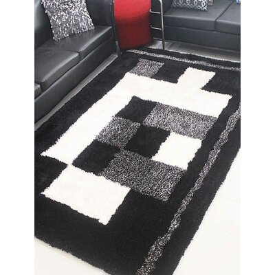 Henricks Hand-Tufted Black/White Area Rug Rug Size: Rectangle 4 x 6