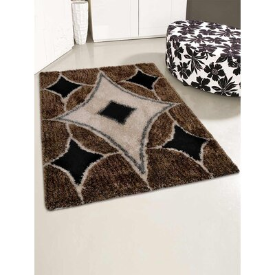 Henricks Hand-Tufted Black/Brown Area Rug