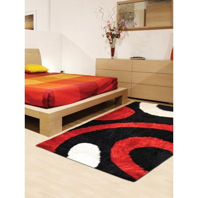 Henricks Hand-Tufted Black/Red Area Rug Rug Size: Rectangle 4 x 6