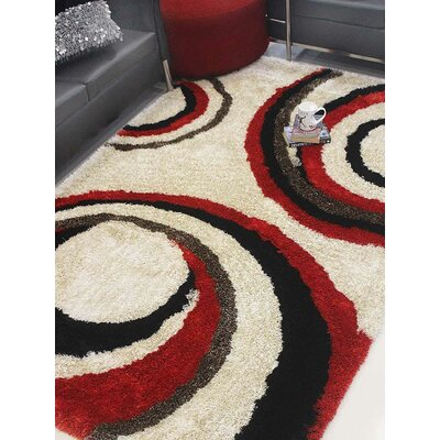 Henricks Hand-Tufted Ivory/Red Area Rug Rug Size: Rectangle 6' x 9'