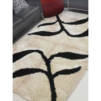 Upchurch Hand-Tufted Beige/Black Area Rug Rug Size: Rectangle 8 x 10