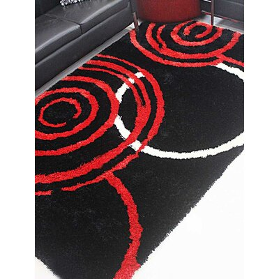 Henricks Hand-Tufted Black/Red Area Rug Rug Size: Rectangle 5 x 8