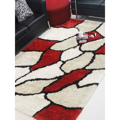Henricks Hand-Tufted Red/Gray Area Rug Rug Size: Rectangle 5 x 8