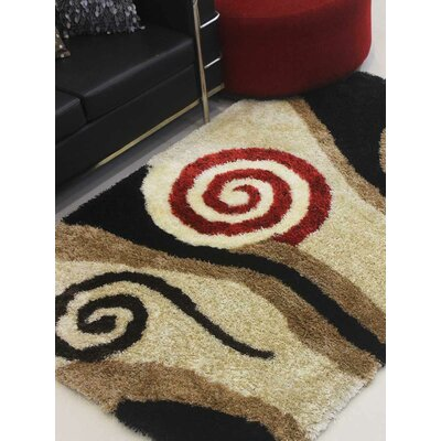 Henricks Hand-Tufted Black/Brown Area Rug Rug Size: Rectangle 6 x 9