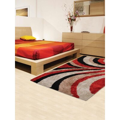 Henricks Hand-Tufted Red/Black Area Rug Rug Size: Rectangle 5 x 8