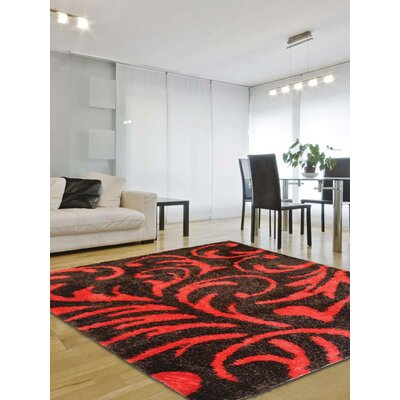 Henricks Hand-Tufted Black/Red Area Rug