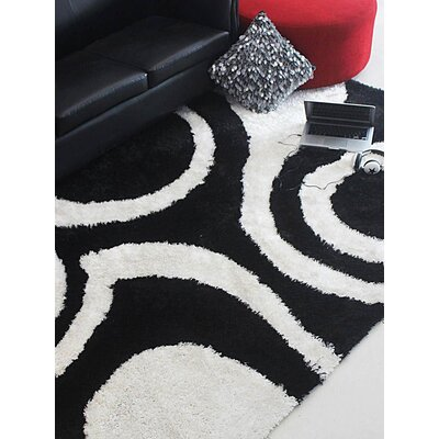 Henricks Hand-Tufted Black/White Area Rug