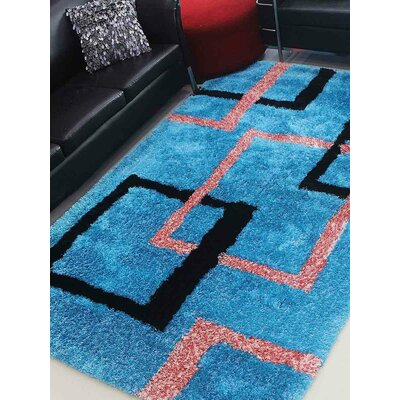 Henricks Hand-Tufted Blue Area Rug Rug Size: Rectangle 5 x 8