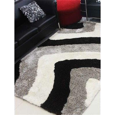 Henricks Hand-Tufted Gray/Black Area Rug Rug Size: Rectangle 6 x 9