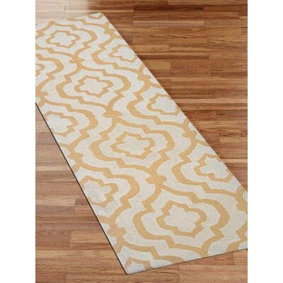 Ketron Hand-Tufted Wool White/Gold Area Rug Rug Size: Runner 26 x 10