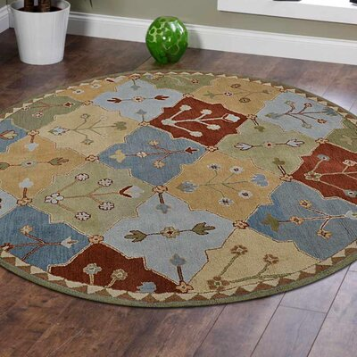 Crider Hand-Tufted Wool Blue/Brown Area Rug