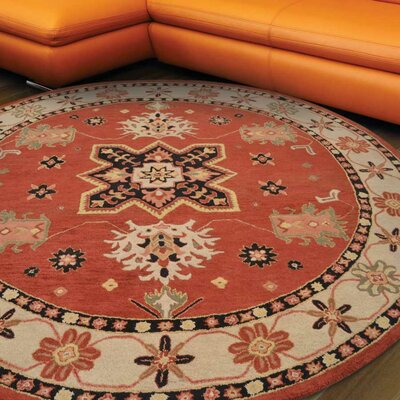 Hassen Hand-Tufted Wool Red/Beige Area Rug