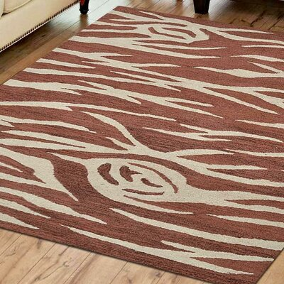 Hassen Hand-Tufted Wool Cream/Red Area Rug Rug Size: Rectangle 5 x 8