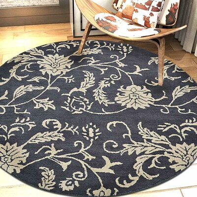 Minor Hand-Tufted Wool Charcoal/Beige Area Rug Rug Size: Round 5