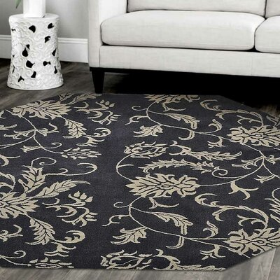 Minor Hand-Tufted Wool Charcoal/Beige Area Rug Rug Size: Octagon 8
