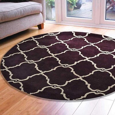 Minor Hand-Tufted Wool Brown/Ivory Area Rug Rug Size: Round 6