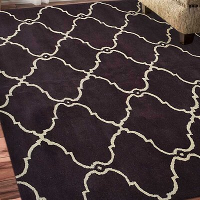 Minor Hand-Tufted Wool Brown/Ivory Area Rug Rug Size: Square 6