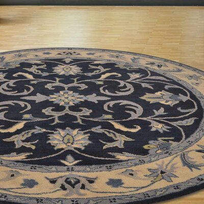 Minor Hand-Tufted Wool Blue/Beige Area Rug Rug Size: Round 8