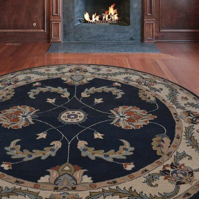 Minor Hand-Tufted Wool Dark Blue/Beige Area Rug Rug Size: Round 6