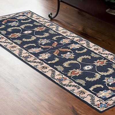 Minor Hand-Tufted Wool Dark Blue/Beige Area Rug