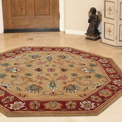 Minor Hand-Tufted Wool Gold/Red Area Rug