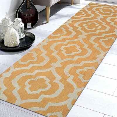 Ketron Hand-Tufted Wool Gold/White Area Rug Rug Size: Runner 26 x 10