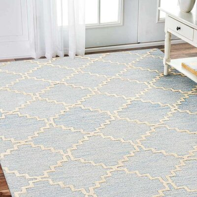 Susann Hand-Tufted Wool Blue/White Area Rug