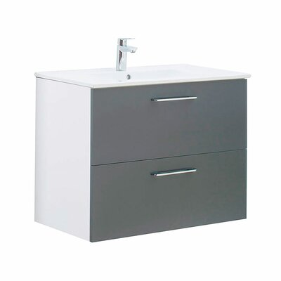 Innes 32 Wall-Mounted Single Bathroom Vanity Set Base Finish: Gray