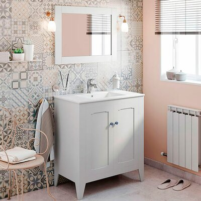 Shalon Classic Vintage 32 Single Bathroom Vanity Set with Mirror Base Finish: Gray