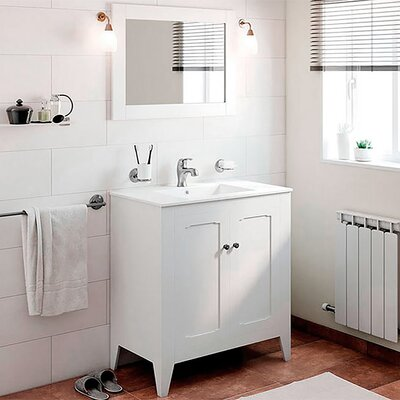 Shalon Classic Vintage 32 Single Bathroom Vanity Set with Mirror Base Finish: White