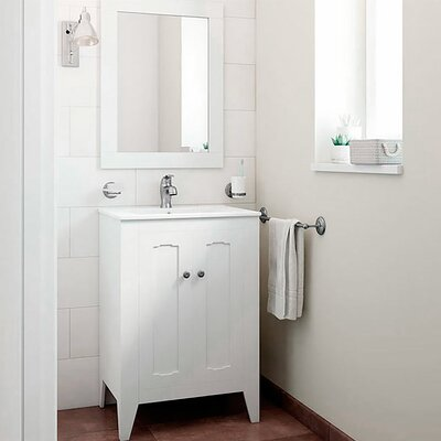 Leonardo Classic Vintage 24 Single Bathroom Vanity Set with Mirror Base Finish: White