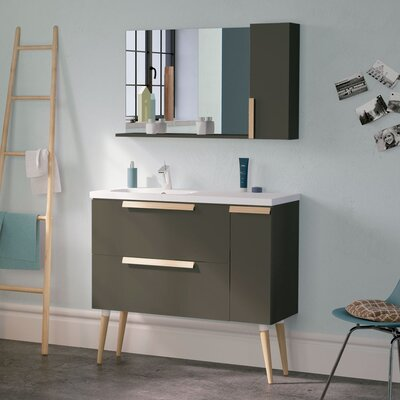 Iniguez Modern 40 Wall-Mounted Single Bathroom Vanity Set with Mirror Base Finish: Gray
