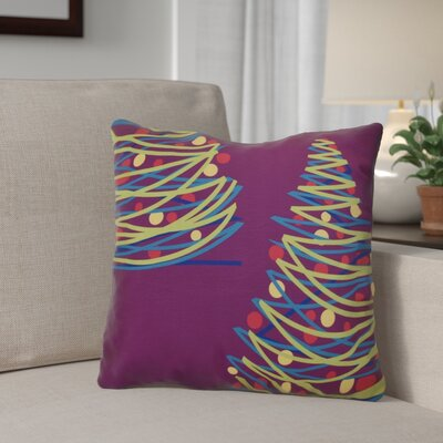 Christmas Tree Outdoor Throw Pillow Size: 20 H x 20 W, Color: Purple