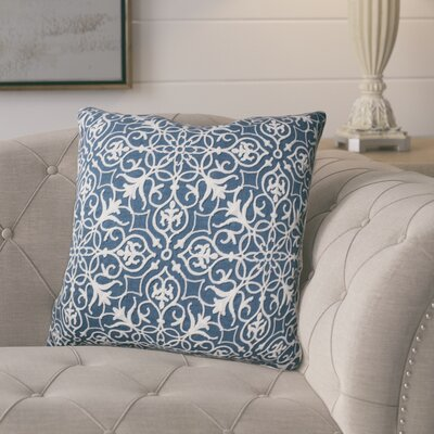 Amicia Embroidered Throw Pillow Color: Baltic Blue