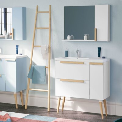 Mckeehan Modern 32 Wall-Mounted Single Bathroom Vanity Set with Mirror Base Finish: White